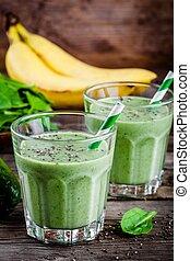 aguacate, Zalamero, sano, espinaca, vidrio, semillas, verde, plátano,  chia