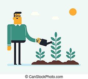 aguando, jovem, caucasiano, branca, plant., jardineiro
