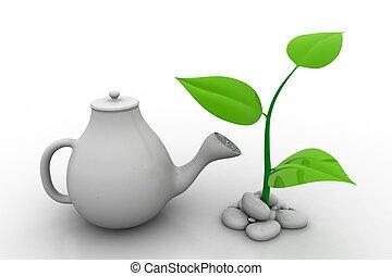 aguando, um, planta, investimento, conceito
