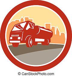 aguas residuales, camión, retro, drenaje, oval, unidad, hydro