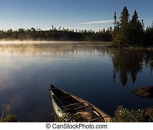 aguas, vista, lago, límite