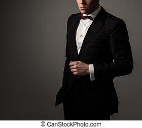 agudo, corbata, arco, fashionist, chaqueta, llevando, ...