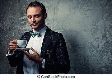 agudo, vestido, café, fashionist, taza