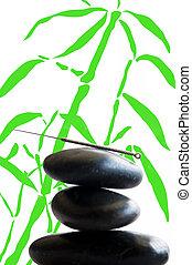 aguja de acupuntura, en, piedra, pirámide