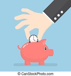aguja del reloj, poniendo, cerdito, hombre de negocios, banco