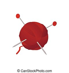 agujas, pelota, caricatura, hilo, icono