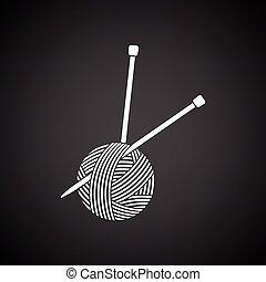 agujas, pelota, tejido de punto, hilo, icono