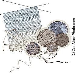agujas, pelotas, de, lana, y, tejido de punto, patrón