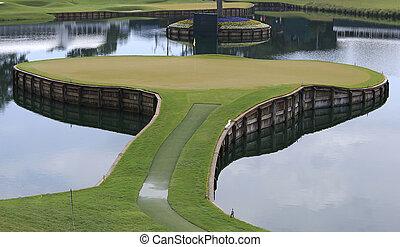agujero, 17, en, tpc, sawgrass, golf, ponte, vedra, florida,...