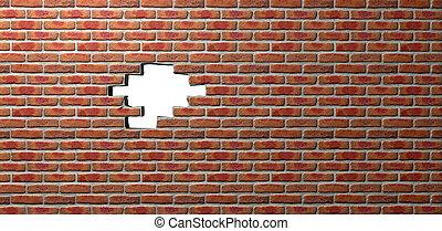 agujero, cara, pared, ladrillo