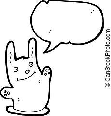 agujero, caricatura, conejo