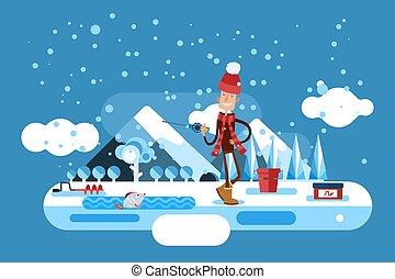 agujero, congelado, invierno, lago, sombrero, hombre, cubo, ...