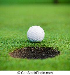 agujero, cup., pelota, labio, golf