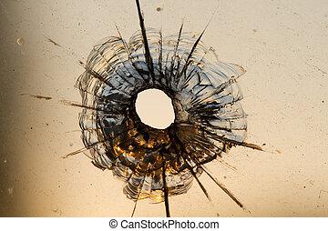 agujero de bala, ventana