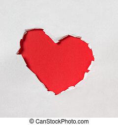 agujero, en forma, de, un, corazón