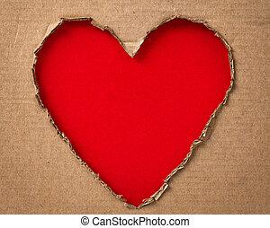 agujero, en, un, forma, de, corazón, en, cartón