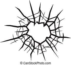 agujero, en, vidrio, agrietado, vidrio, negro y blanco