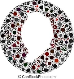 agujero, mapa, isla, coronavirus, corvo, redondo, mosaico