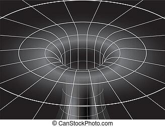 agujero, negro, isométrico, vista