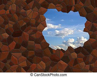 agujero, pared