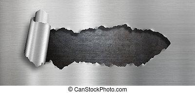 agujero, rasgado, metal, plano de fondo