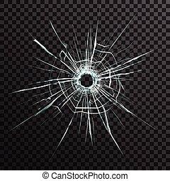 agujero, transparente, bala, vidrio