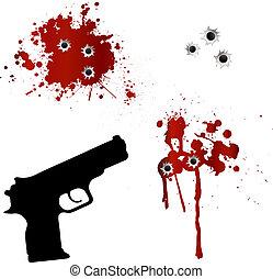 agujeros, arma de fuego, bala, sangre