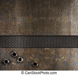 agujeros, metal, bala, plano de fondo