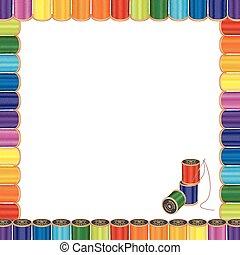 agulha, quadro, cosendo, fios, cartaz