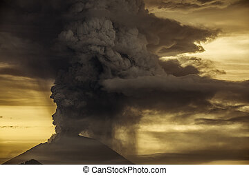 agung, indonésie, abang, éruption, province, volcan