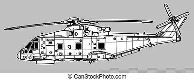 Agusta Westland AW101 Merlin. Outline vector drawing - ...