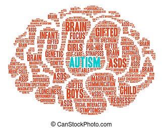 agyonüt, szó, autism, felhő
