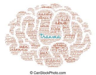 agyonüt, szó, trauma, felhő