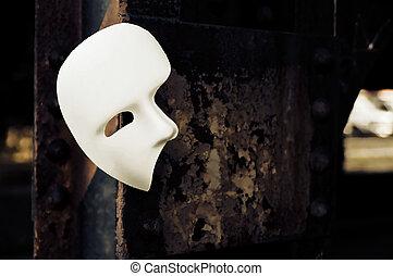 agyrém, bridzs, maskara álarc, -, oszlop, berozsdásodott, opera