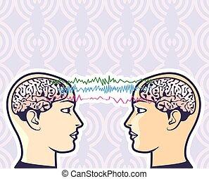 agyvelő, telepátia, emberi, között
