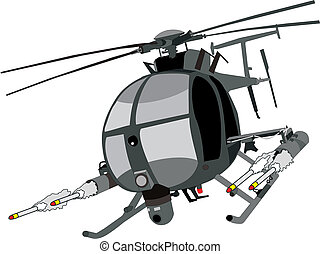 ah-6 Helicopter - vector of AH-6 helicopter firing missiles