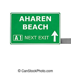 AHAREN BEACH road sign isolated on white