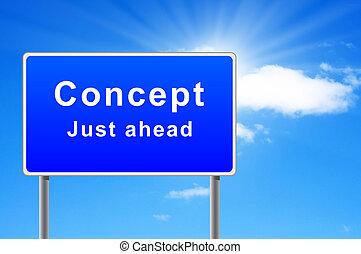 ahead., concetto, giusto, segno, grande, parole, strada