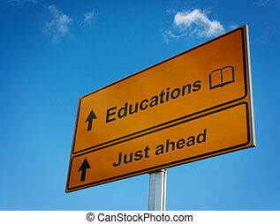 ahead., educazione, strada, giusto, segno