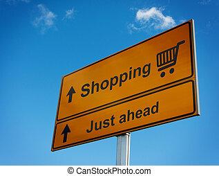 ahead., shopping, strada, giusto, segno
