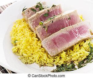 Ahi Tuna Steak With Rice