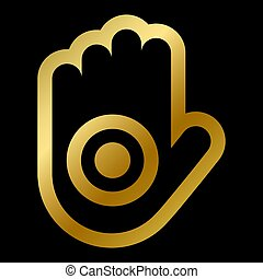 Ahinsa hand faith symbol isolated. Indian jainism religious golden sign outline on white background vector design illustration. Buddhism, religion and belief concept