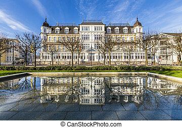 facade of Ahlbecker Hof in Ahlbeck - AHLBECK, GERMANY -...