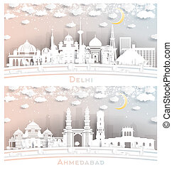Ahmedabad and Delhi India City Skyline Set in Paper Cut Style with White Buildings, Moon and Neon Garland. Cityscape with Landmarks.