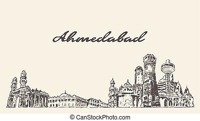 Ahmedabad skyline India vector hand drawn sketch