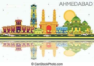 Ahmedabad Skyline with Color Buildings, Blue Sky and Reflections. Vector Illustration. Business Travel and Tourism Concept with Historic Architecture. Image for Presentation Banner Placard and Web Site.