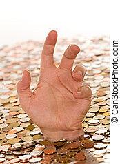 ahogo, concepto, dinero, -, malo, deuda, finanzas