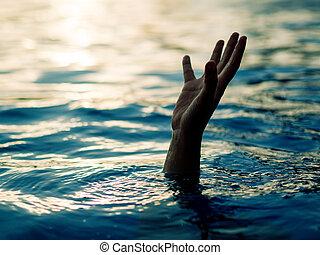 ahogo, help., necesitar, víctimas, mano, hombre