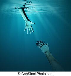 ahogo, hombre, dar, mano que ayuda, concepto