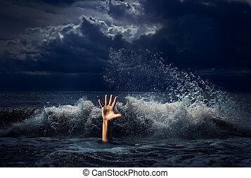 ahogo, hombre, mano, en, tormenta, agua de mar